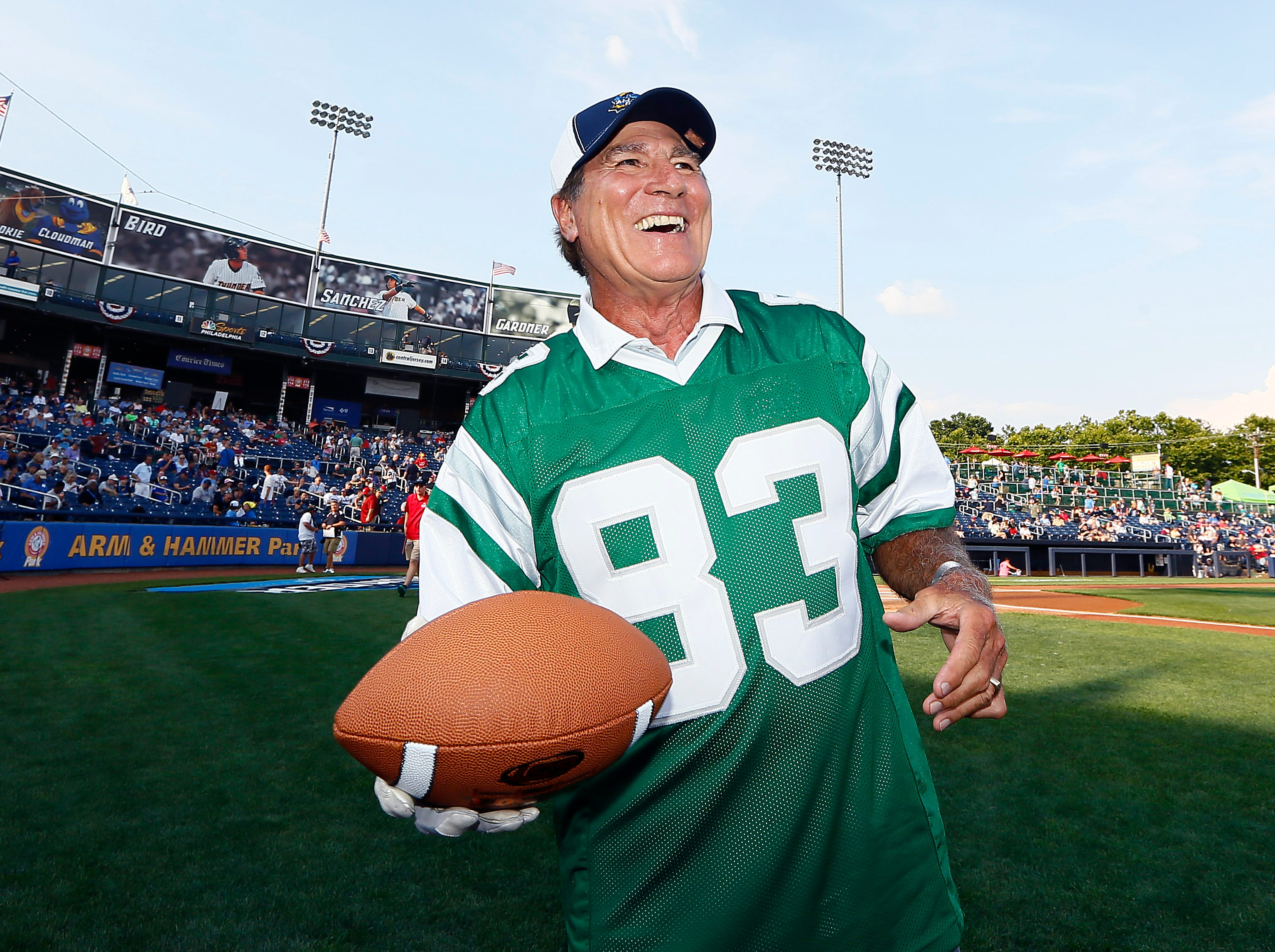 Former  Philadelphia Eagles Vince Papale prepares to throw out a ceremonial first pitch as the Trenton Thunder hosted the 2018 Eastern League All-Star Classic at ARM & HAMMER Park in Trenton. July 11, 2018, Trenton, NJ.