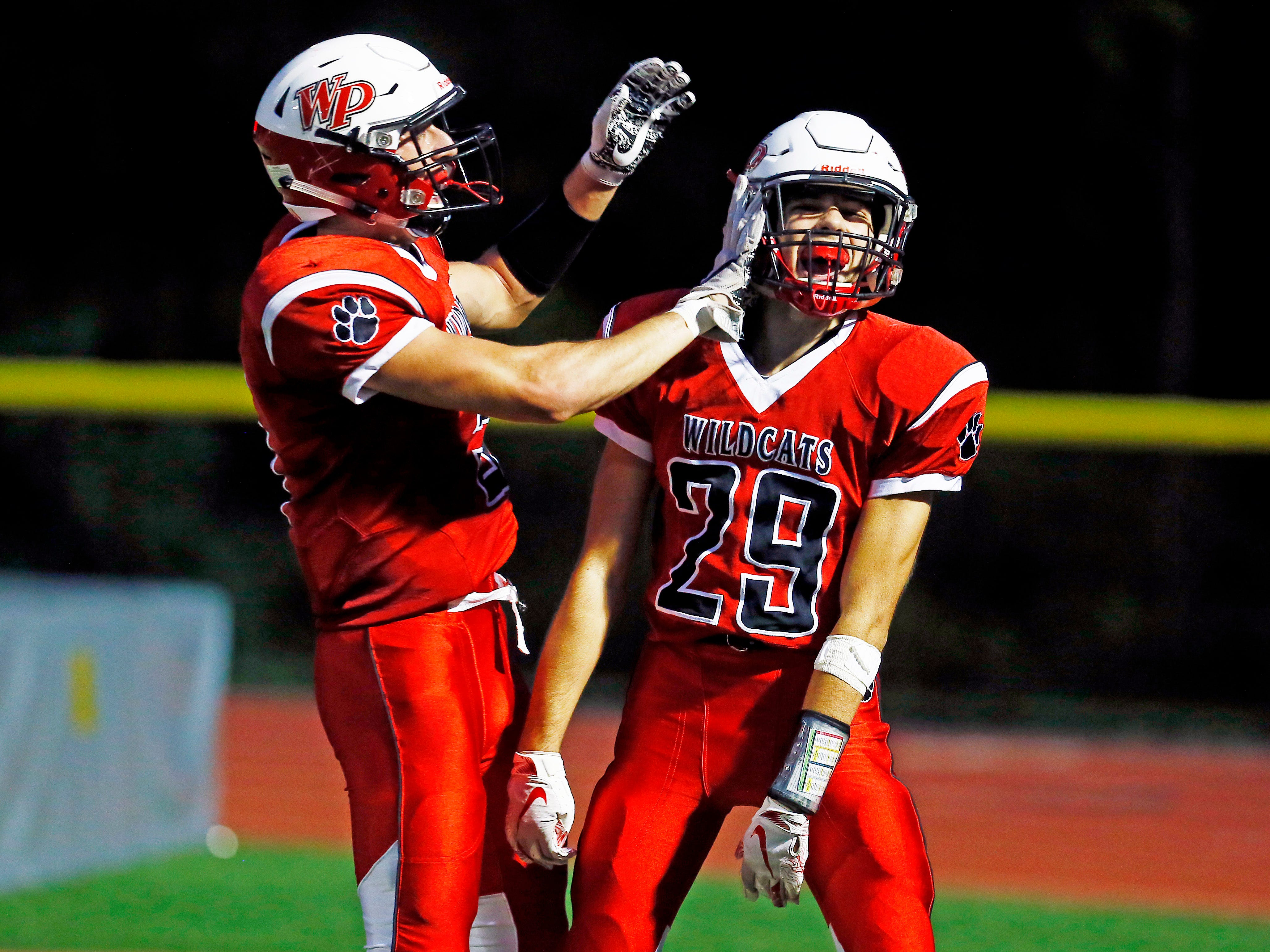 Whippany Park's Cristiano Zipeto (29) celebrates his first half touchdown vs. Boonton during their SFC American Blue Friday night football game. September 21, 2018, Whippany, NJ
