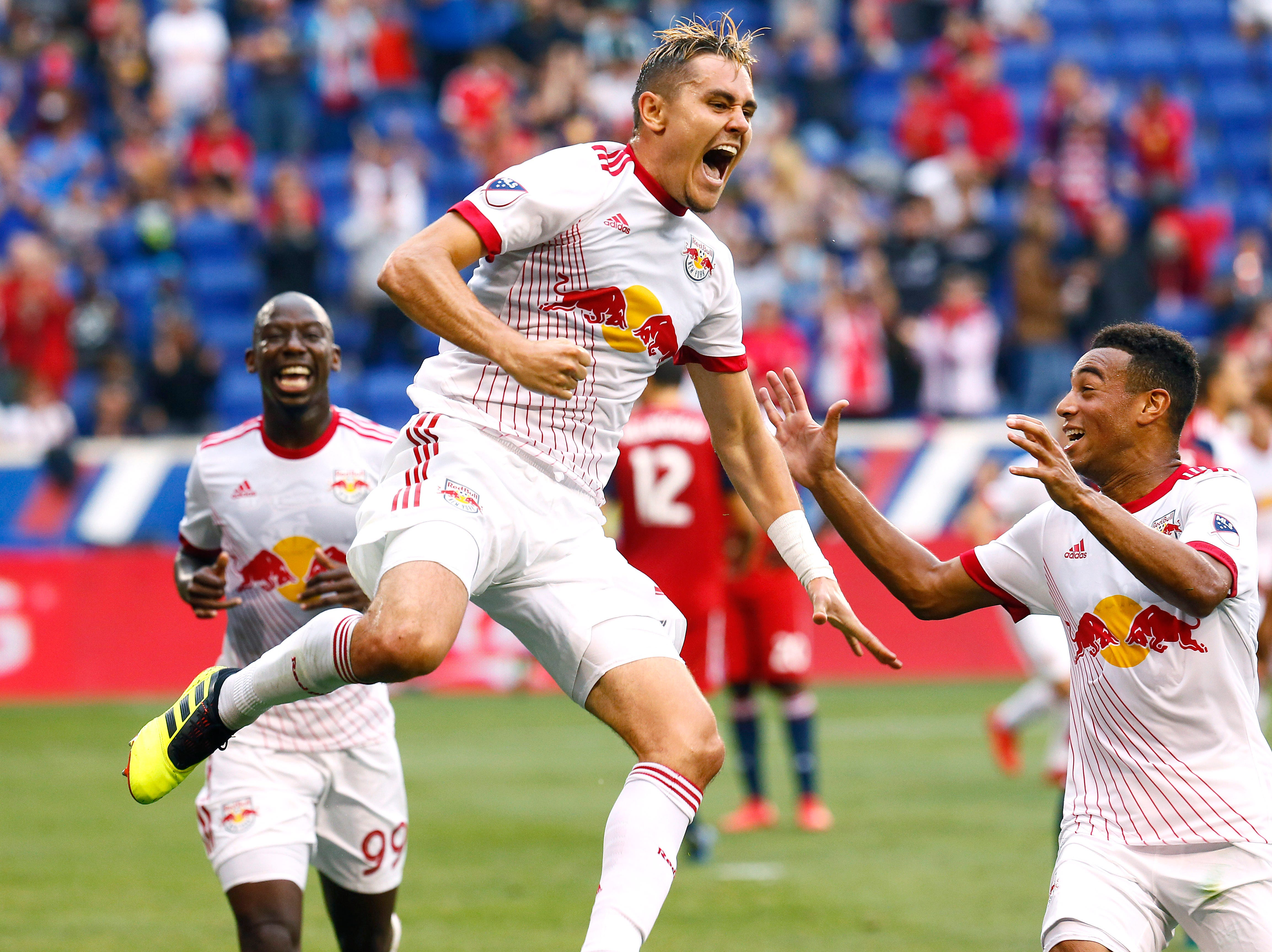 Red Bulls Aaron Long celebrates his first half goal vs. FC Dallas at the Red Bull Arena. June 23, 2018. Harrison, NJ