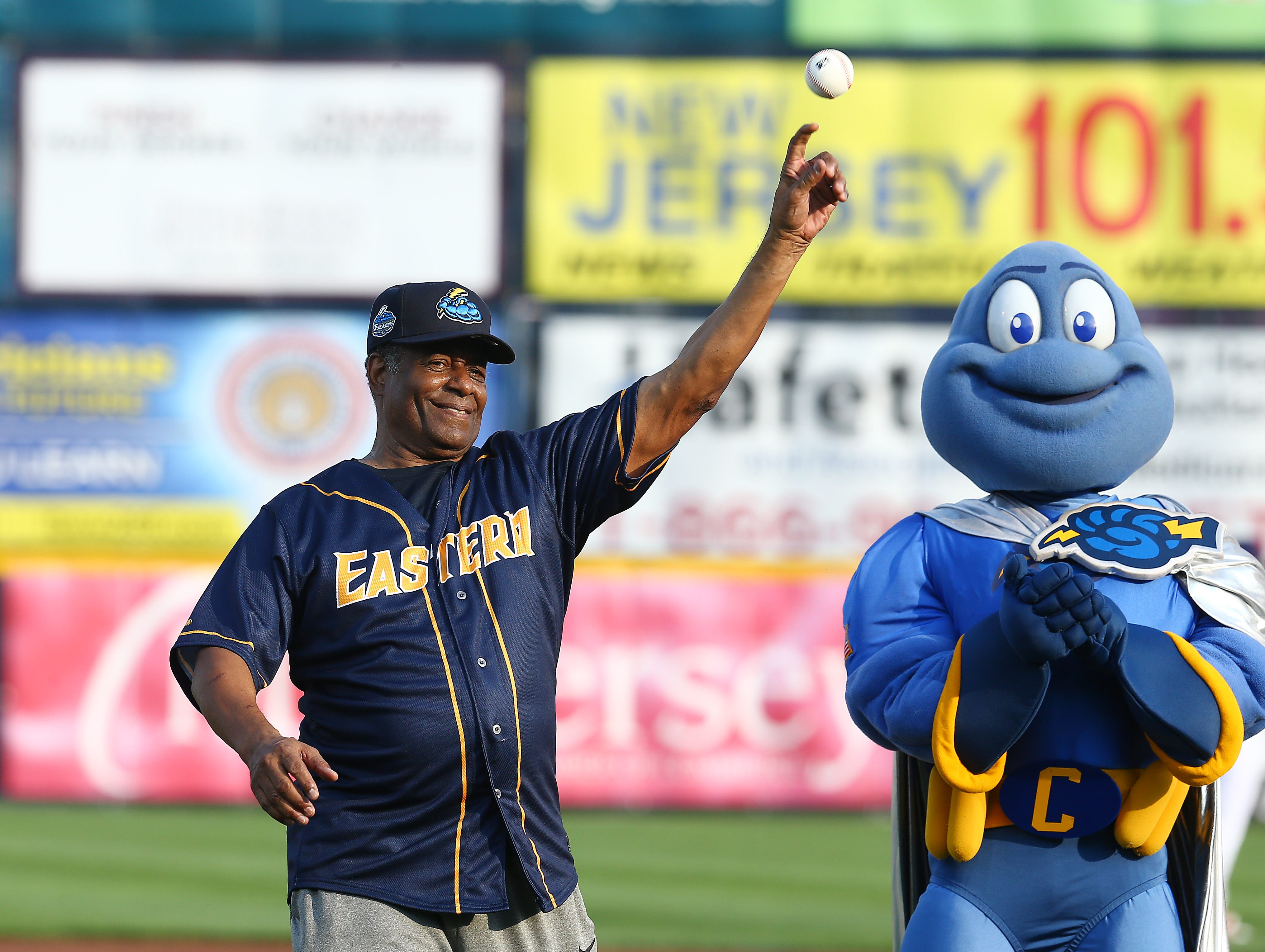 Ken Griffey Sr. throws out a ceremonial first pitch as the Trenton Thunder hosts the 2018 Eastern League All-Star Classic at ARM & HAMMER Park in Trenton. July 11, 2018, Trenton, NJ.