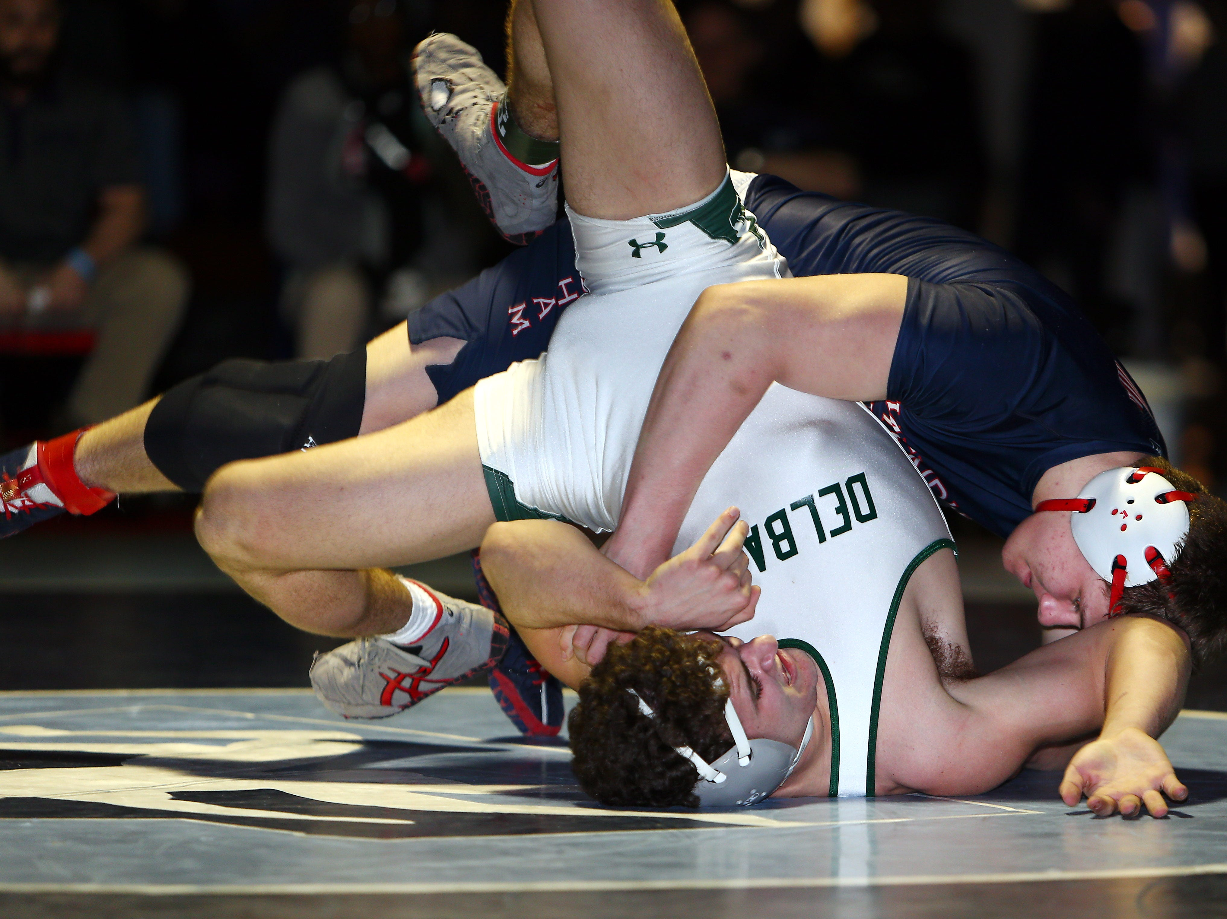 Gage Armijo of Mendham vs. Anthony Siragusa of Delbarton during the Region 3, 195 lb. wrestling final at West Orange High School. February 24, 2018. West Orange, NJ.