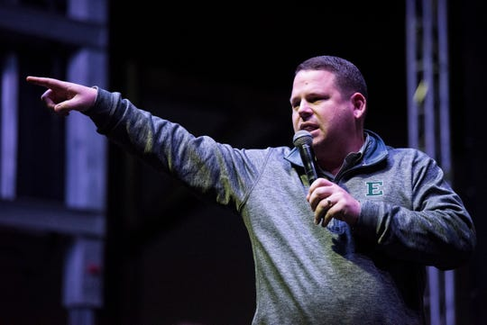 Athletic director Scott Wetherbee pumps up the crowd during an Eastern Michigan pep rally at the Union Station Train Shed in Montgomery, Ala., on Friday, Dec. 14, 2018.  Eastern Michigan will take on Georgia Southern in the Camellia Bowl on Saturday.