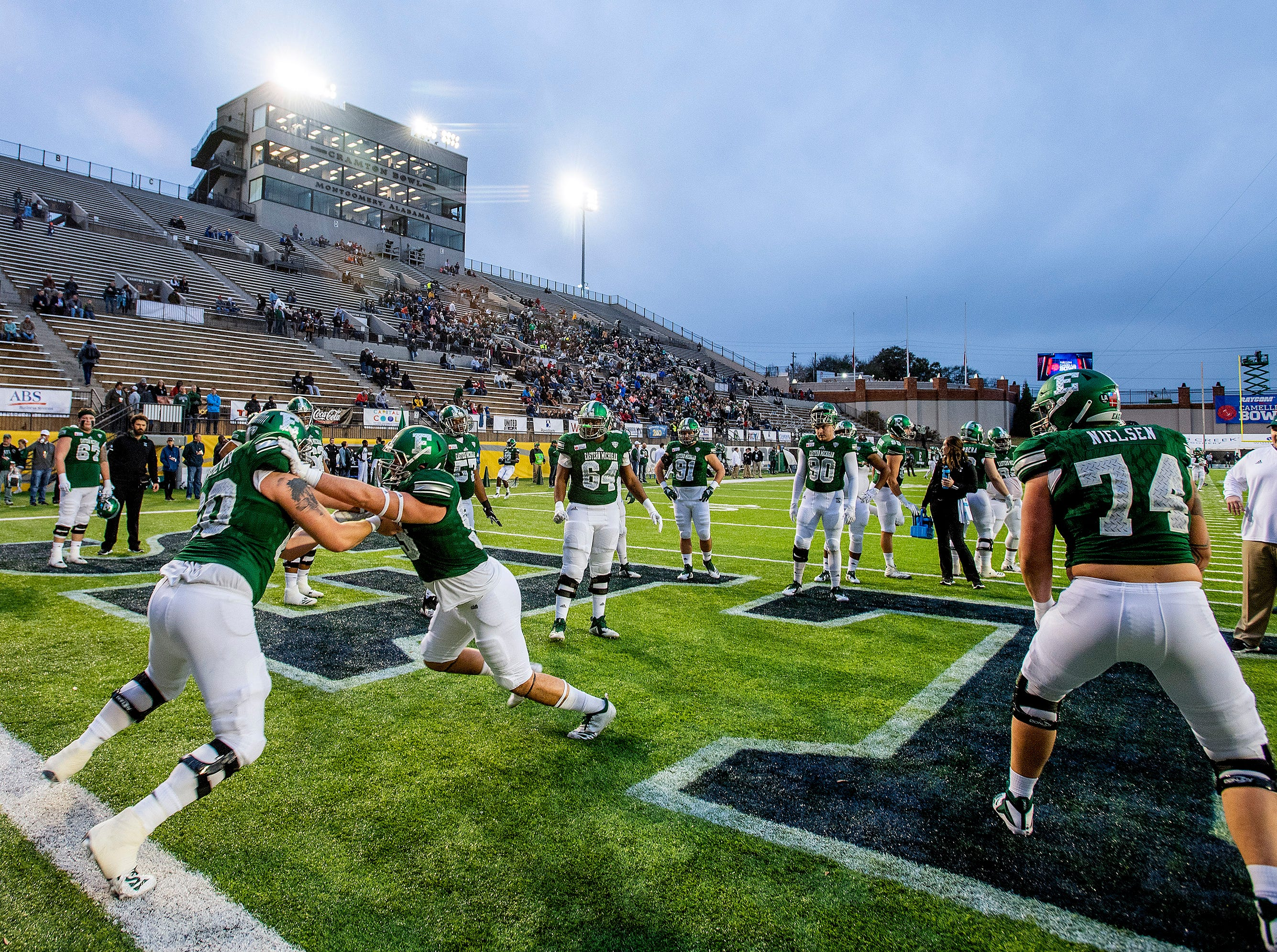 Eastern Michigan warms up before the Raycom Media Camellia Bowl held at Cramton Bowl in Montgomery, Ala., on Saturday December 15, 2018.