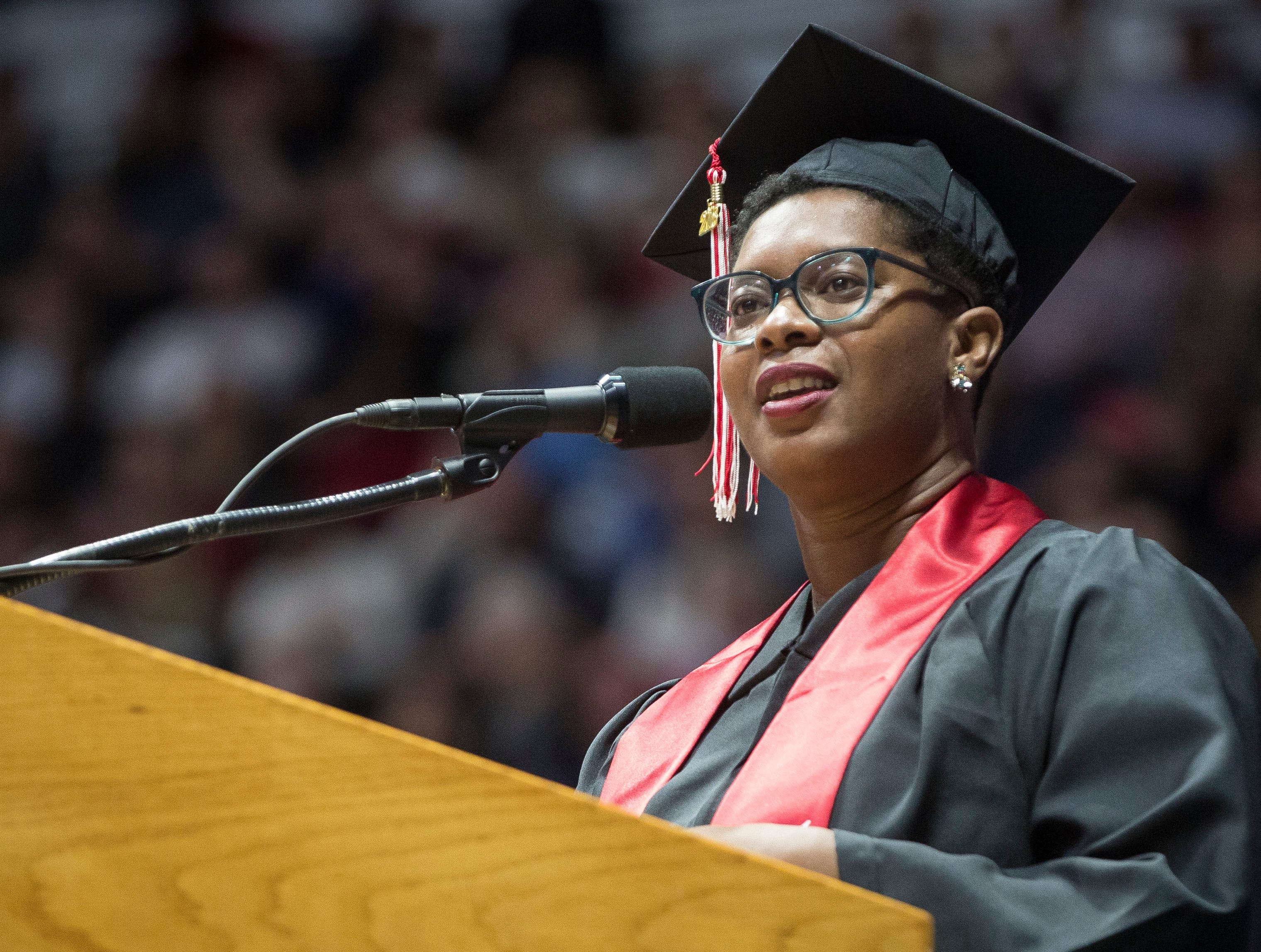 Ashley C. Ford gives the commencement address at the 184th commencement ceremony on Saturday at Worthen Arena. Ford works as a writer and blogger.