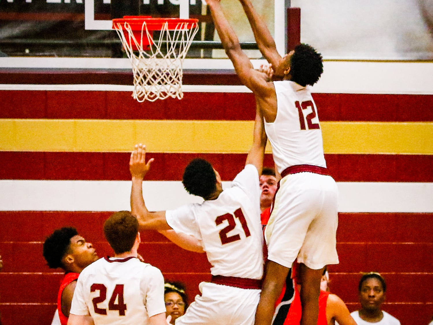 Riverdale's Elijah Cobb dunks home two of his eight points during Friday's 73-46 win over Stewarts Creek.