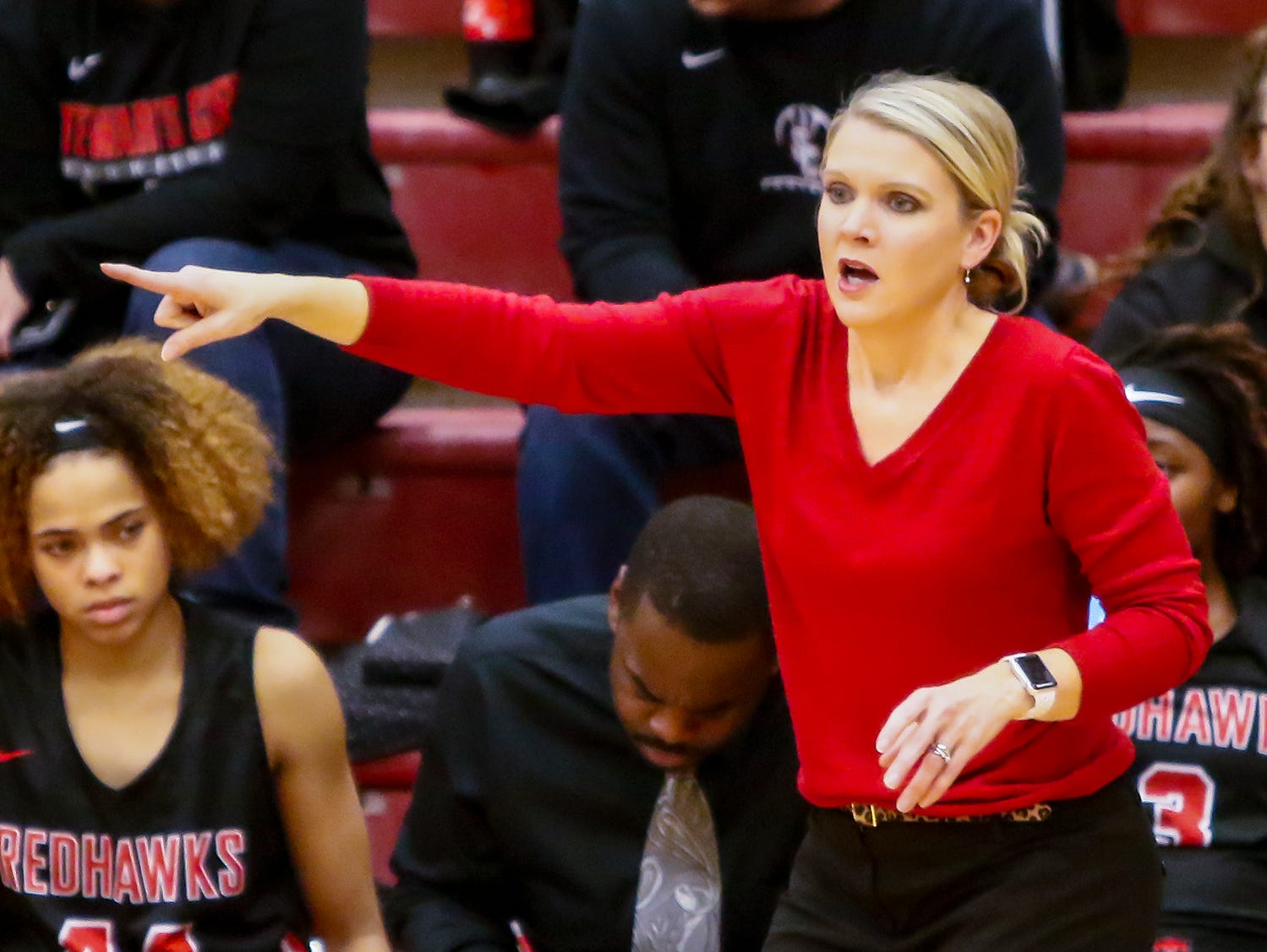 Stewarts Creek girls coach Lindy King instructs her squad during Friday's game at Riverdale.