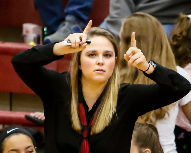 Riverdale girls coach Amy Josephson calls a play during Friday's win over Stewarts Creek.