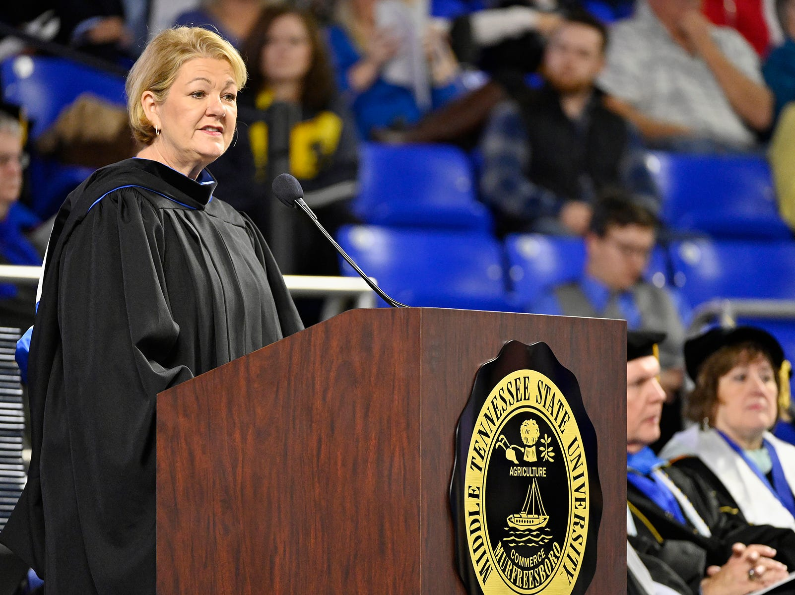 Wanda Lyle, managing director of UBS AG and general manager of the UBS Business Solutions Center in Nashville, makes a point Saturday, Dec. 15, during her address to graduating students at MTSU's fall 2018 morning commencement ceremony in Murphy Center. MTSU presented 1,731 degrees to students in dual ceremonies, including 1,471 undergraduates and 260 graduate students in the celebrations.