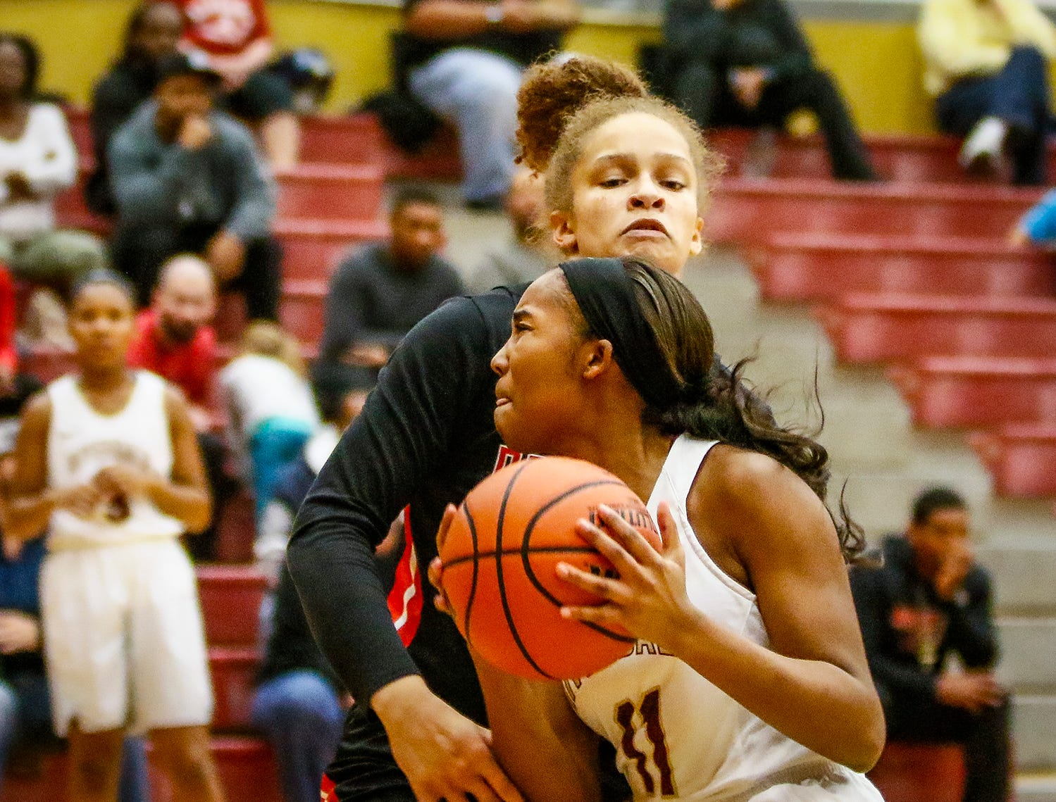 Riverdale's Aislynn Hayes drives around Stewarts Creek's Kaylee Odom.
