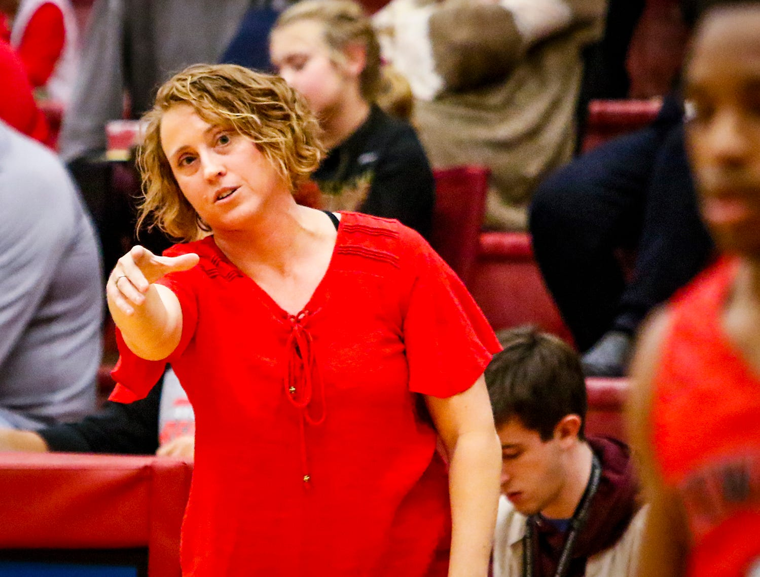 Stewarts Creek boys coach Dawn Barger instructs her squad during Friday's game at Riverdale.