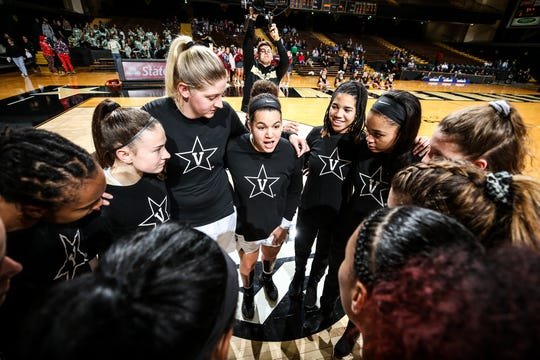 Vanderbilt women's basketball players huddle before playing Central Michigan at Memorial Gym on Dec. 15.