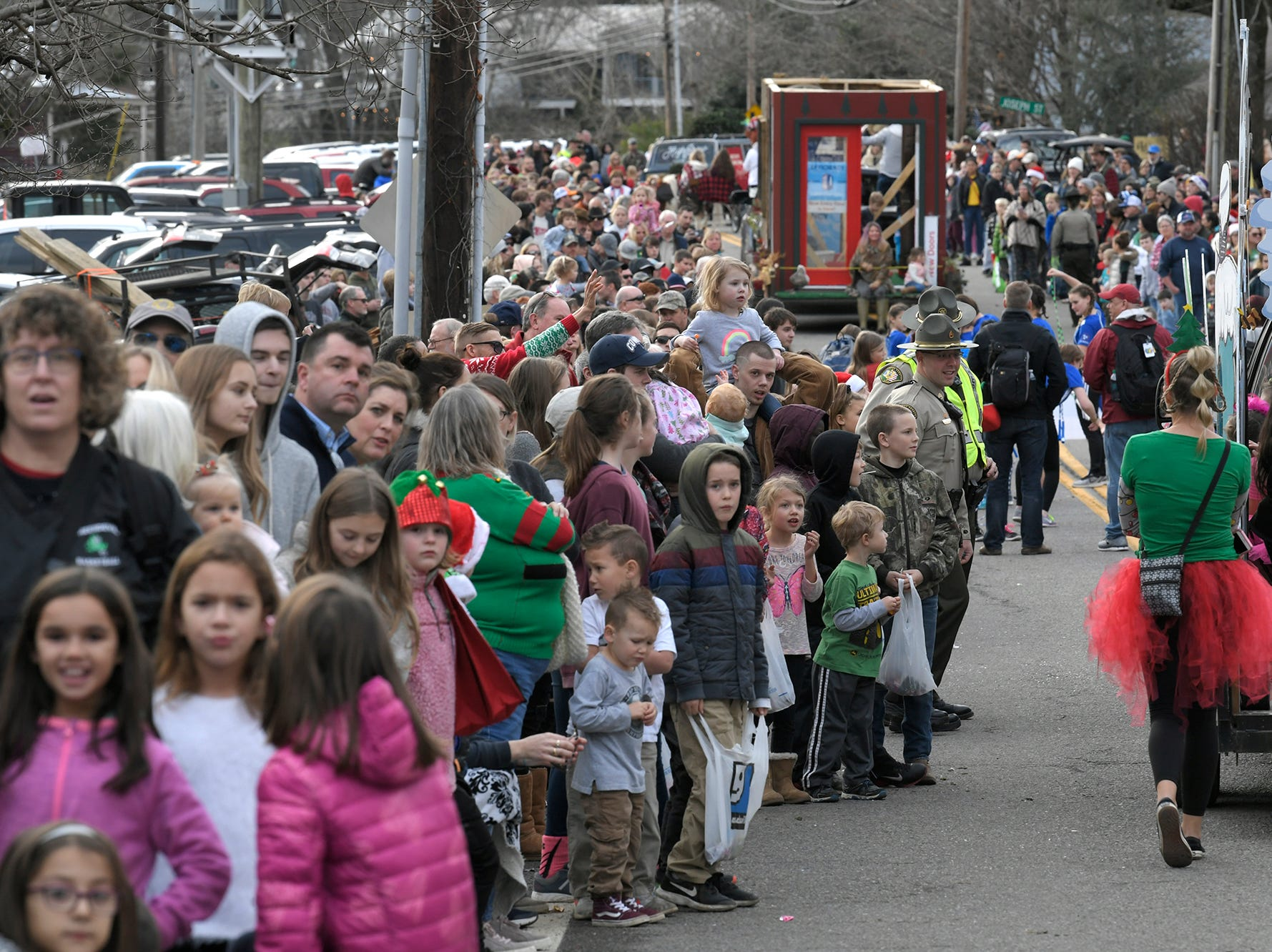 Thousands of people line the street to watch the Leipers Fork Christmas Parade on Saturday, Dec. 15, 2018.