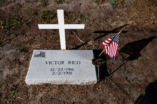 The grave of Victor Rico, whose daughter in Germany began the inquiries that led to restoration of  94 restored veteran gravesites at Lake Trafford Memorial Gardens in Immokalee. Members of Golden Gate Veterans of Foreign Wars Post 7721 and other guests gathered Saturday, Dec. 15, 2018, to place Christmas wreaths as a part of a larger tribute to veterans called Wreaths Across America.