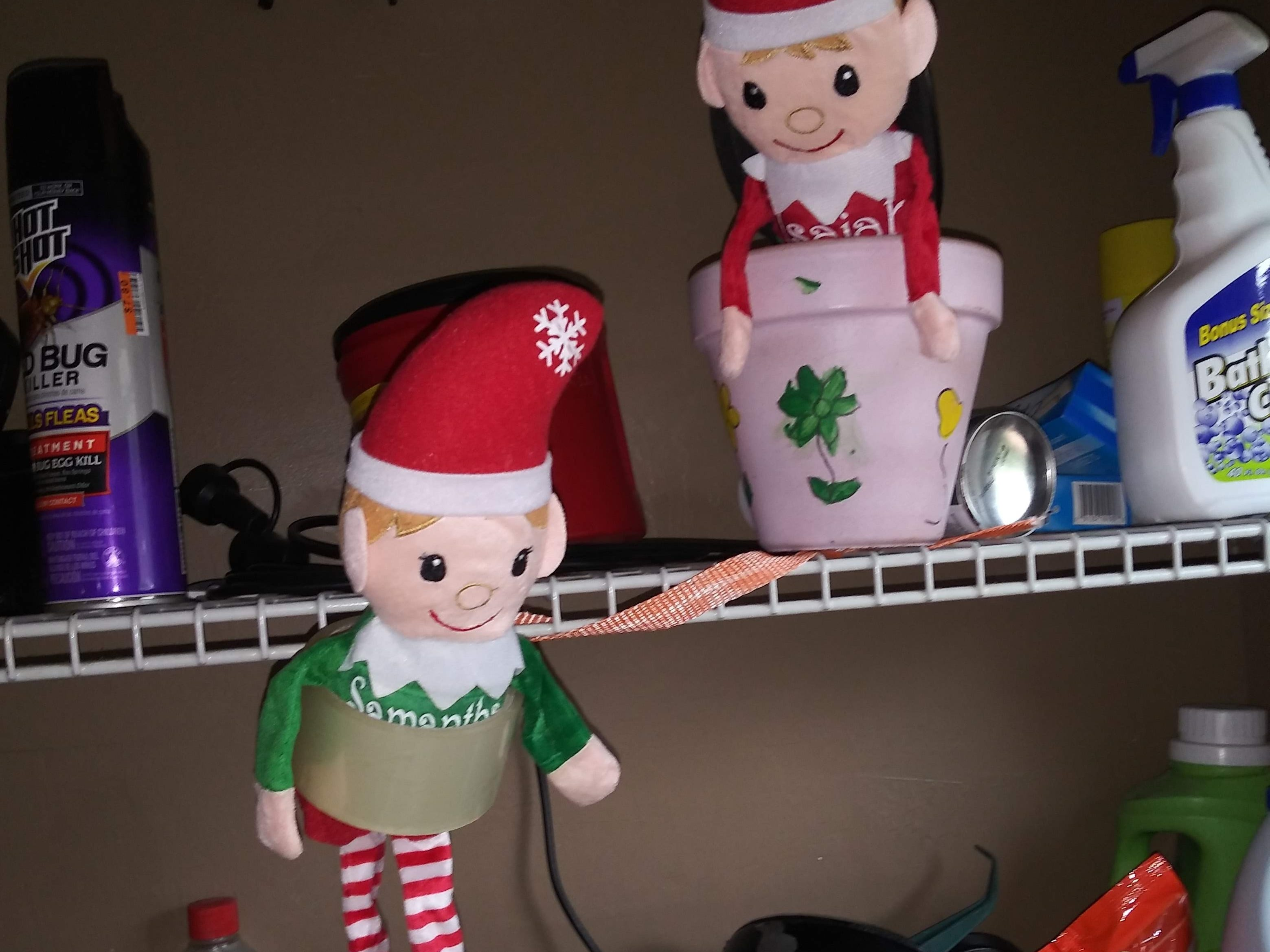 """Say hello to elves Candy and Chippy. This is her second year participating in """"Elf on the Shelf."""" Jackie Lopez writes: """"They are for my daughter Samantha Lopez, 8, and my son Isaiah Juarez, 2."""""""