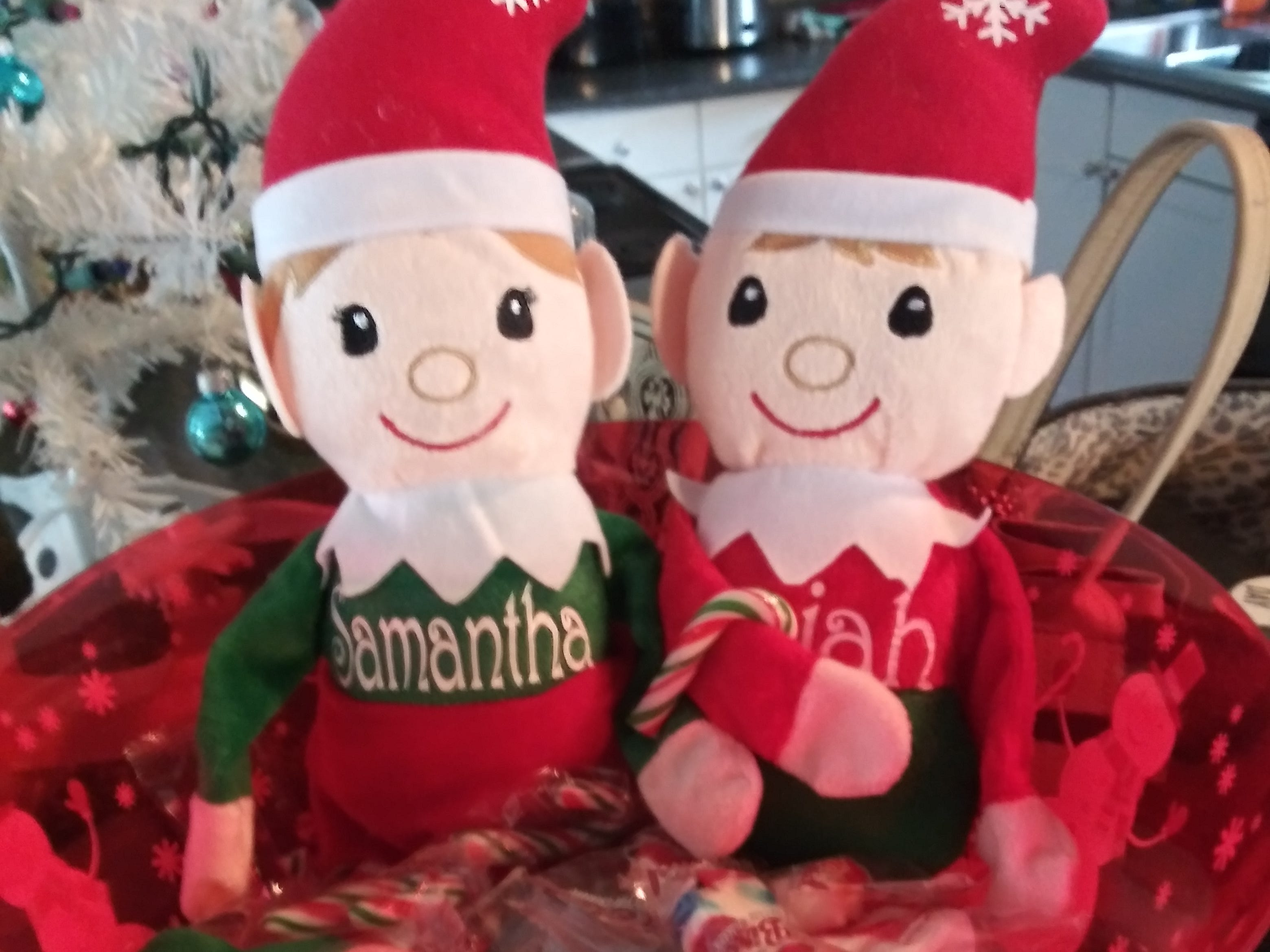 """Say hello to elves Candy and Chippy. This is the second year participating in """"Elf on the Shelf."""" Jackie Lopez writes: """"They are for my daughter Samantha Lopez, 8, and my son Isaiah Juarez, 2."""""""