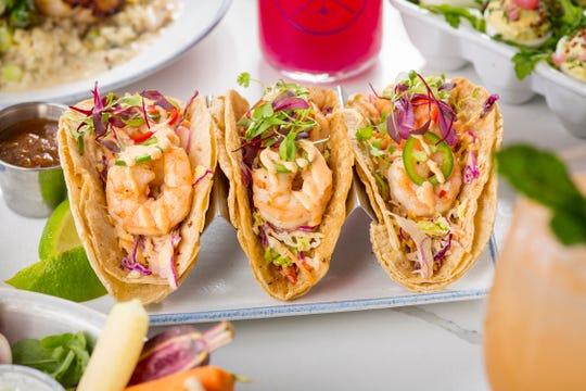 Shrimp tacos at The Hampton Social, opening in December 2018 at Mercato in North Naples.
