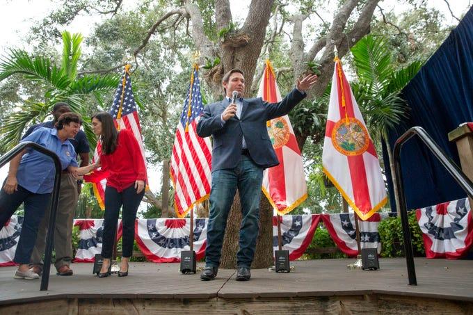 Florida State Senator Kathleen Passidomo, R-Naples, State Rep. Byron Donalds, R-Naples and Florida Lt. Gov. elect Jeanette Nunez join Florida Governor elect Ron DeSantis on stage during a visit, Saturday, Dec. 15, 2018 in Naples.
