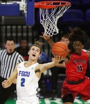Florida Gulf Coast University's Caleb Catto scored nine points in the Eagles' game at Oral Roberts.