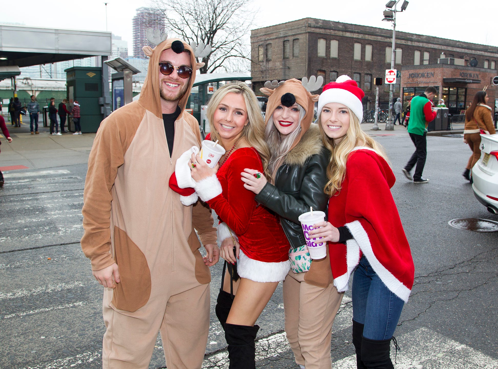 2018 SantaCon in Hoboken. SantaCon is a convention  men and women dressed like Santa. 12/15/2018
