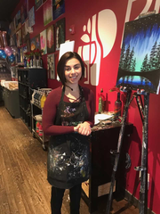 Pinot's Palette instructor Laura Arbore says the free parking allows customers to finish art projects without interruption to feed meters. Saturday, Dec. 15, 2018