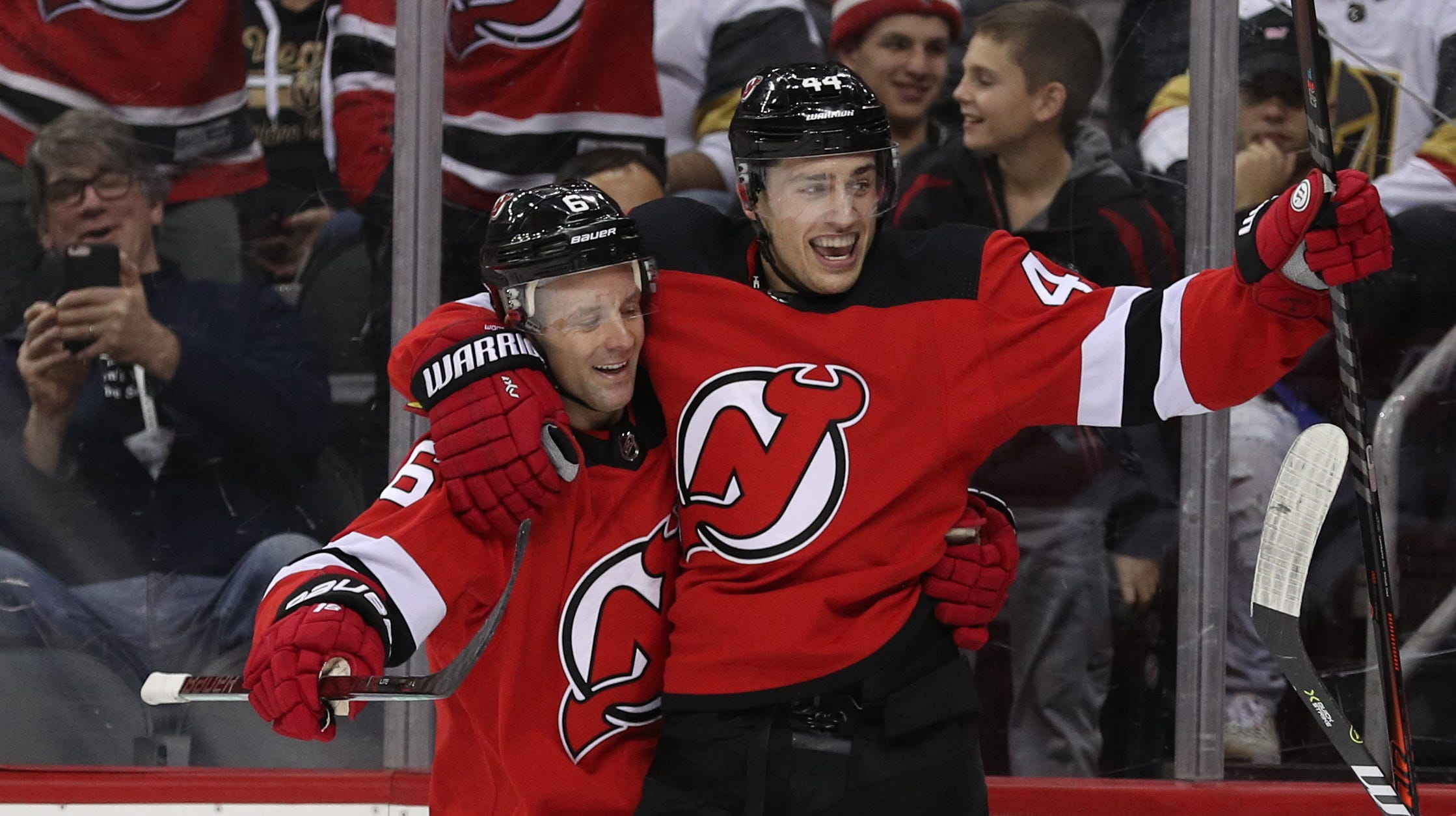 New Jersey Devils left wing Miles Wood (44) celebrates his goal during the second period of their game against the Vegas Golden Knights at Prudential Center.
