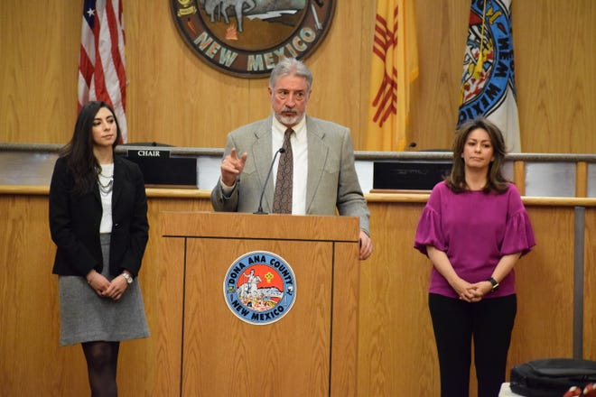 Paul Dulin, partnership specialist with the U.S. Census Bureau, Denver Region, addresses residents Friday at the Doña Ana County Government Center. He is joined by Paulina Lopez, left, and Elaine Avina, right, also with the U.S. Census Bureau, Denver Region.
