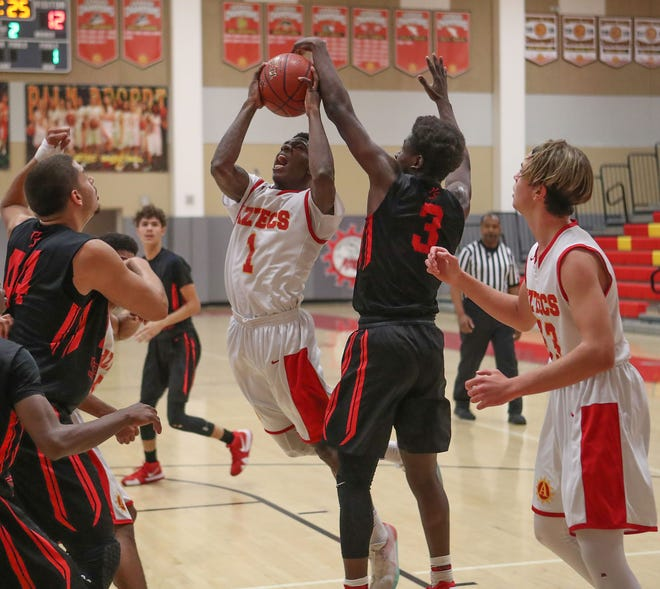 Samuel Adache shoots for Palm Desert during their game against Palm Springs, December 15, 2018.
