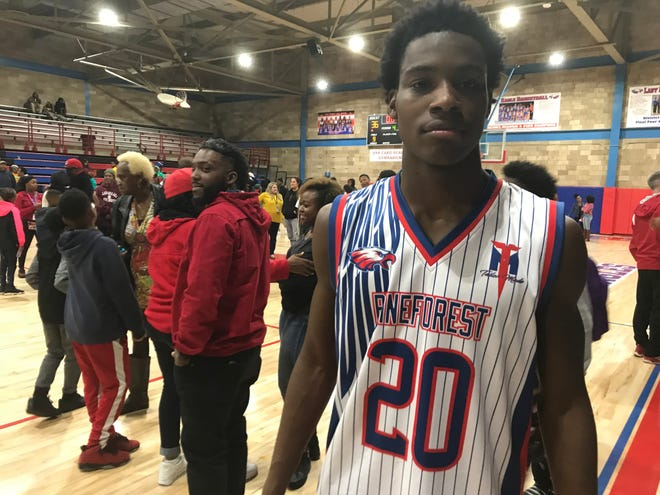 Pine Forest senior Devon Witherspoon after the Eagles' 40-36 win over Pensacola Catholic on Friday, Dec. 14, 2018.