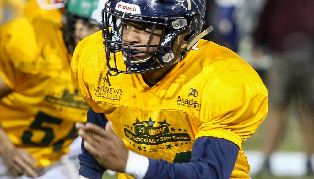 Gulf Breeze linebacker Carl Taylor (44) follows the play in Pensacola Sports' annual Subway High School All-Star Game at Blue Wahoos Stadium on Friday, December 14, 2018. Players from Escambia County schools made up the West team and players from schools in Santa Rosa & Okaloosa counties made up the East team.