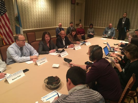 Reclamation Commissioner Brenda Burman (center left) speaks to reporters at the Colorado River Water Users Association conference in Las Vegas on Thursday, Dec. 13, 2018.