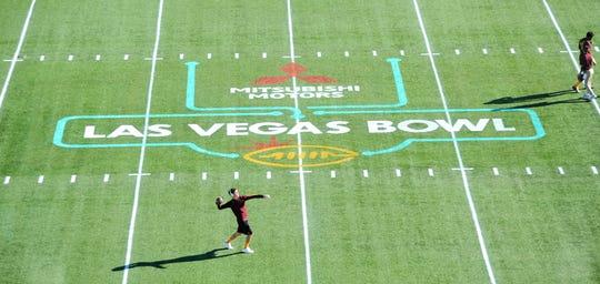Arizona State football players warm up prior to the Las Vegas Bowl Saturday, Dec. 15, 2018 at Sam Boyd Stadium.