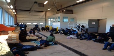 """U.S. Customs and Border Protection provided this photo, which it says depicts the building at the New Mexico port of entry where 7-year-old Guatemalan girl Jakelin Caal Maquin was held before agents learned she was ill. It's unclear if she is in this photo. The agency described the photo as showing """"71 in detention at time."""""""