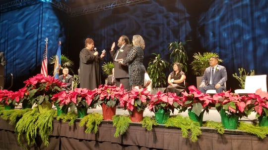 Chief Judge Ryan Andrews is sworn in during a ceremony at Talking Stick Resort on Dec. 15