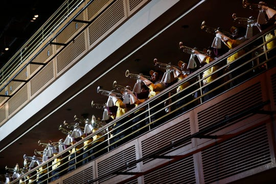 The Arizona State band plays during an event for the Las Vegas Bowl, Friday, Dec. 14, 2018, in Las Vegas. (AP Photo/John Locher)