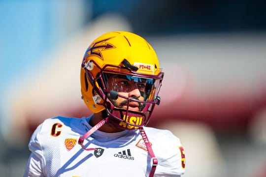 Arizona State Sun Devils quarterback Manny Wilkins looks on before a game against Arizona.