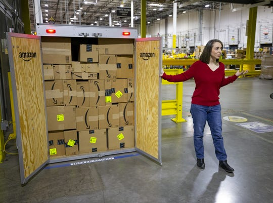 Lisa Guinn, community specialist at Amazon Fulfillment Center in Phoenix, talks about the operation of the facility.