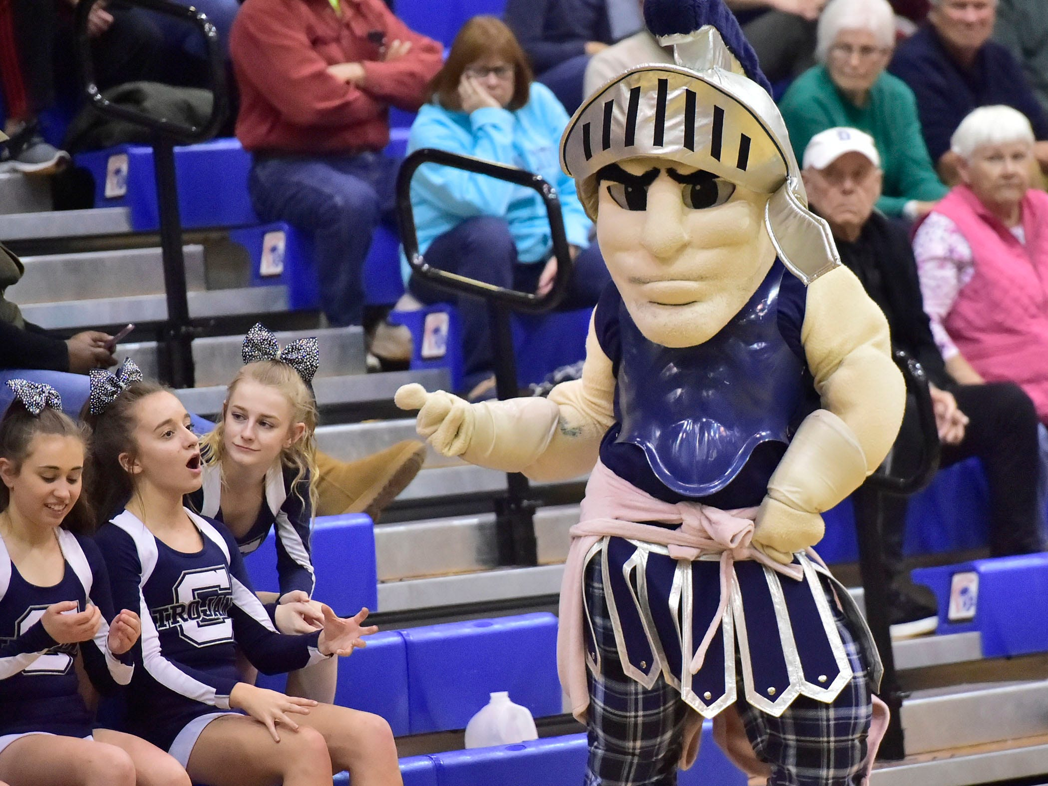 The Chambersburg Trojan mascot entertains the crowd. Chambersburg dropped a buzzer-beater 42-40 to State College during  D3 basketball, Friday, Dec. 14, 2018.
