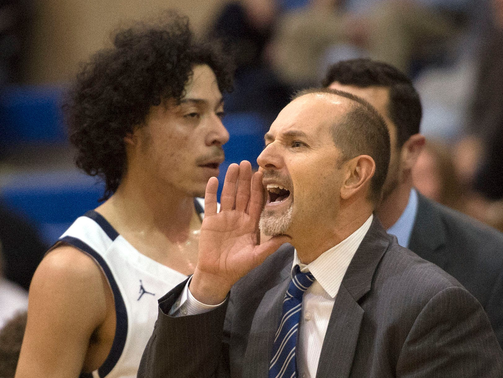Shawn Shreffler coaches the Chambersburg Trojans. Chambersburg dropped a buzzer-beater 42-40 to State College during  D3 basketball, Friday, Dec. 14, 2018.