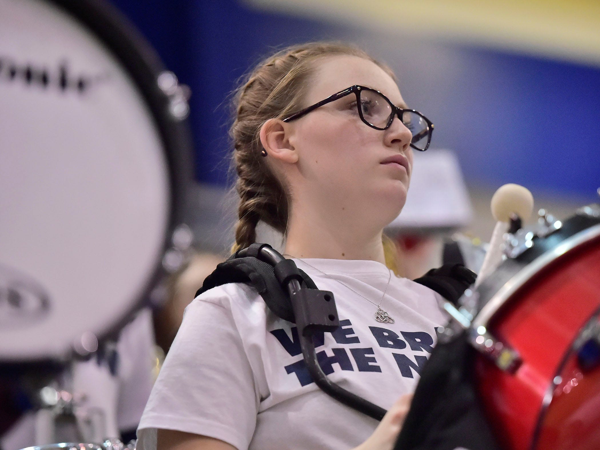 A Trojan drummer warms up the crowd. Chambersburg dropped a buzzer beater 42-40 to State College during a District 3 basketball, Friday, Dec. 14, 2018.