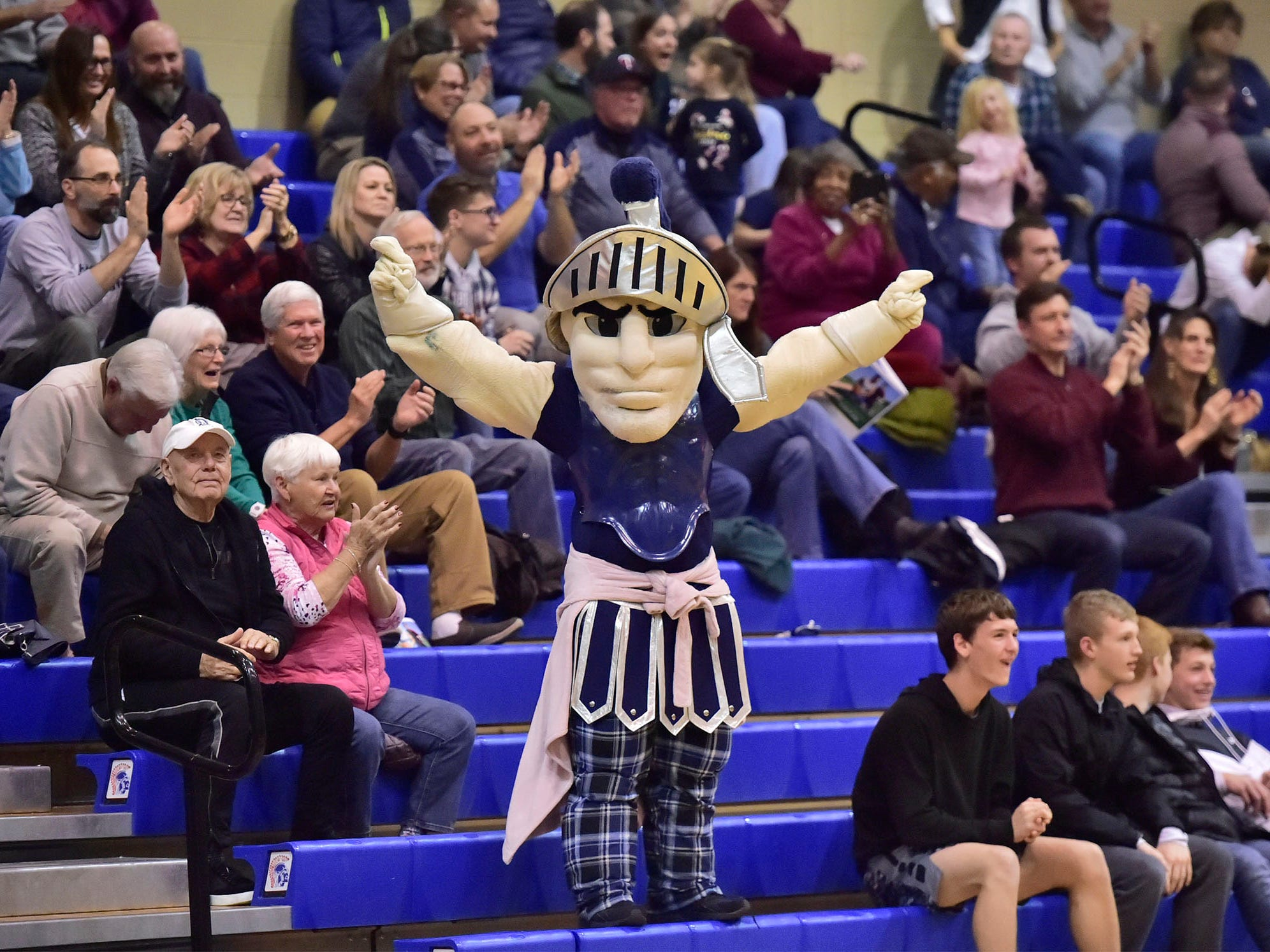 The Chambersburg Trojan mascot entertains the crowd. Chambersburg dropped a buzzer beater 42-40 to State College during a District 3 basketball, Friday, Dec. 14, 2018.