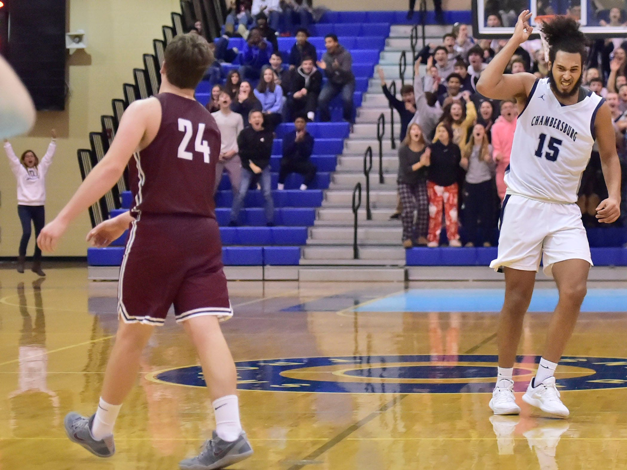Tyler Collier of Chambersburg celebrartes after hitting a shot to tie the game late in the 4th. Chambersburg dropped a buzzer-beater 42-40 to State College during  D3 basketball, Friday, Dec. 14, 2018.