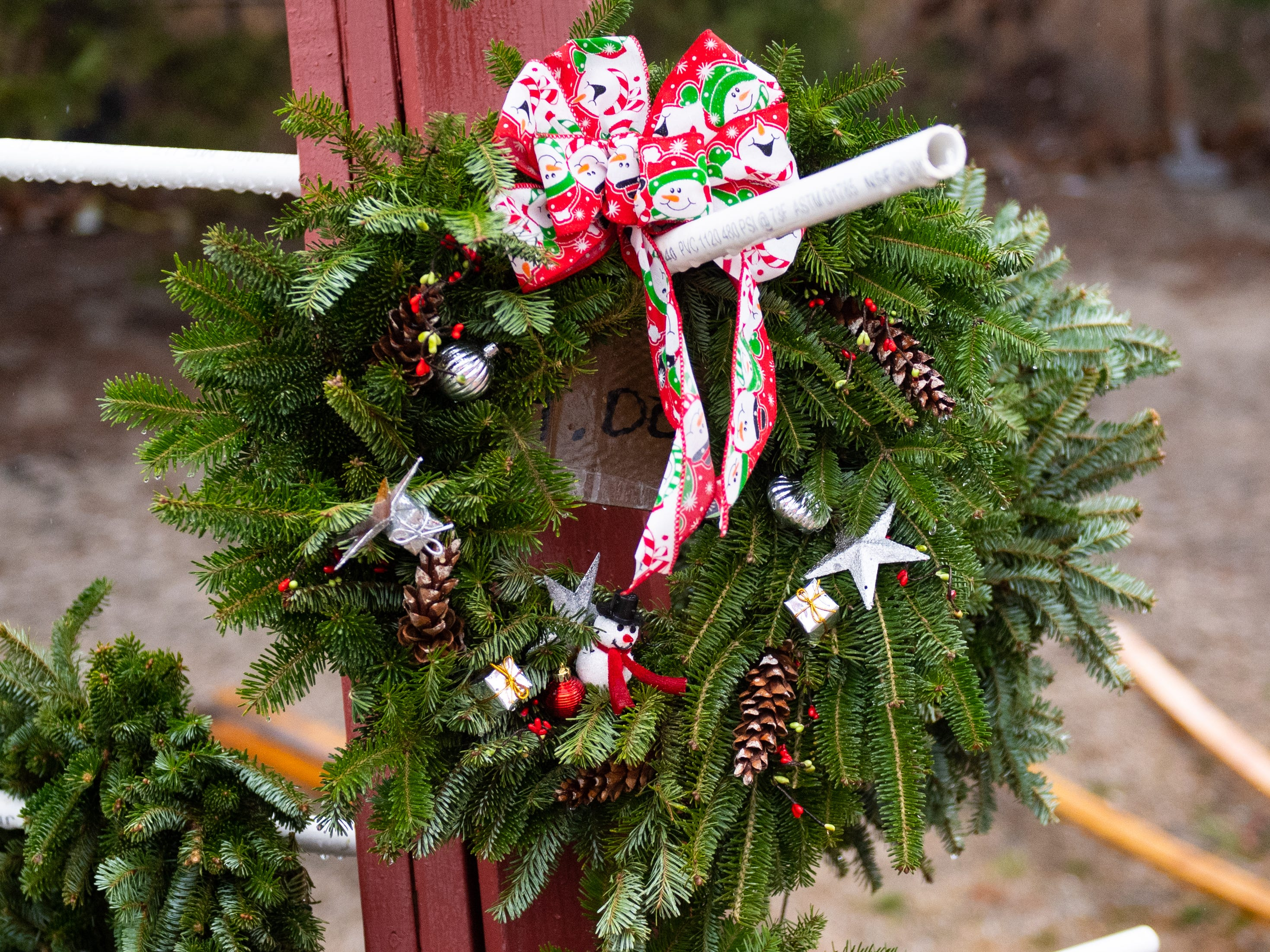 The Food Bank's Christmas Tree Sale also sells wreaths to go alone with the trees, December 15, 2018.