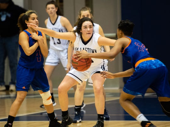 Dallastown's Danika Moose (41) protects the lane during the girls' basketball game between Dallastown and York High at Dallastown High School, December 14, 2018. The Wildcats defeated the Bearcats 62-31.