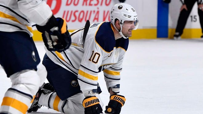 Nov 8, 2018: Buffalo Sabres forward Patrik Berglund (10) reacts after blocking a shot during the first period of the game against the Montreal Canadians at the Bell Centre.
