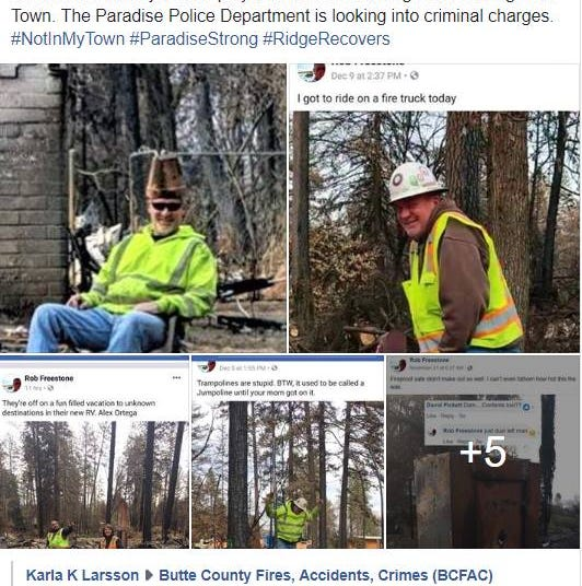 Paradise police look to charge Camp Fire cleanup worker who posted 'reprehensible' photos