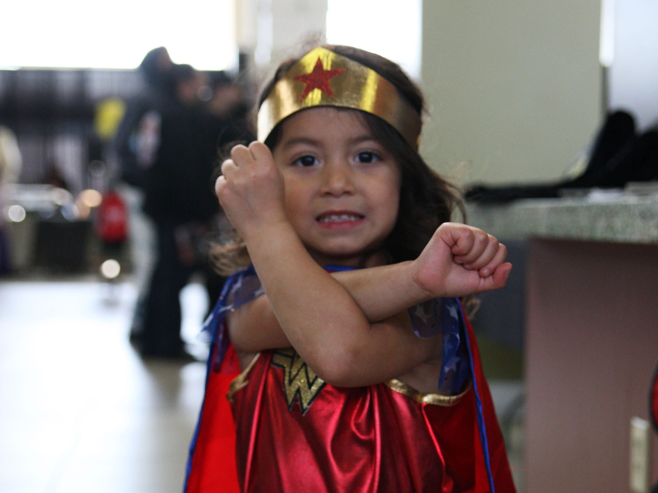 Emma Aileen Bernal-Samaro poses in her Wonder Woman costume at Comic Con put on by the Steinbeck Center in Salinas.