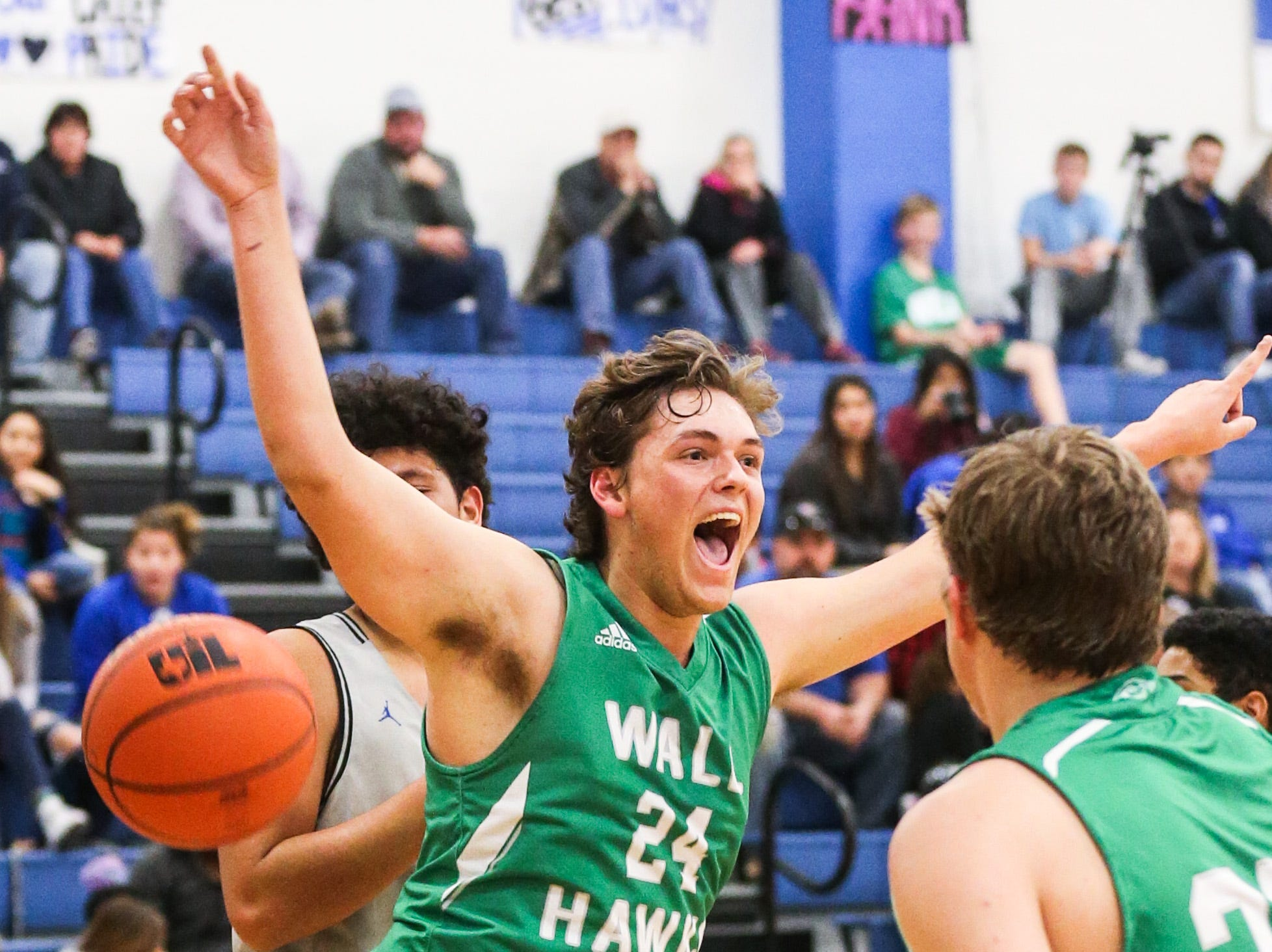 Wall's Colton Chitsey cheers after a shot against Lake View Friday, Dec. 14, 2018, at Lake View High School.