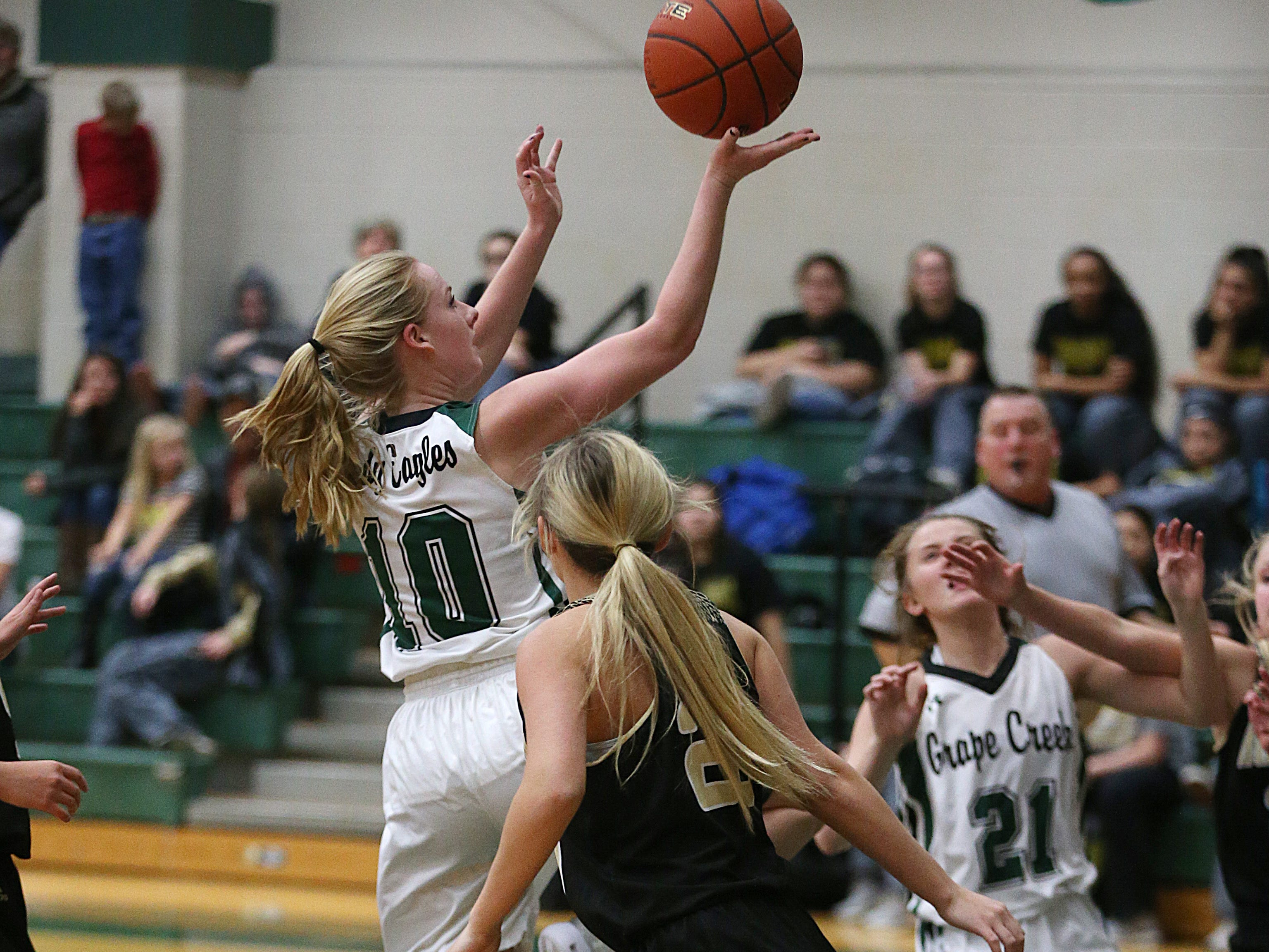 Grape Creek's Kyla Walker (#10) shoots for a basket Friday, Dec. 14, 2018 during their game against Brady in Grape Creek. Brady won 48 to 28.