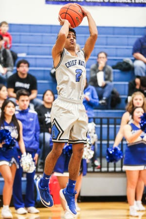 Lake View's Dylan Hart jumps to shoot during the game against Wall Friday, Dec. 14, 2018, at Lake View High School.