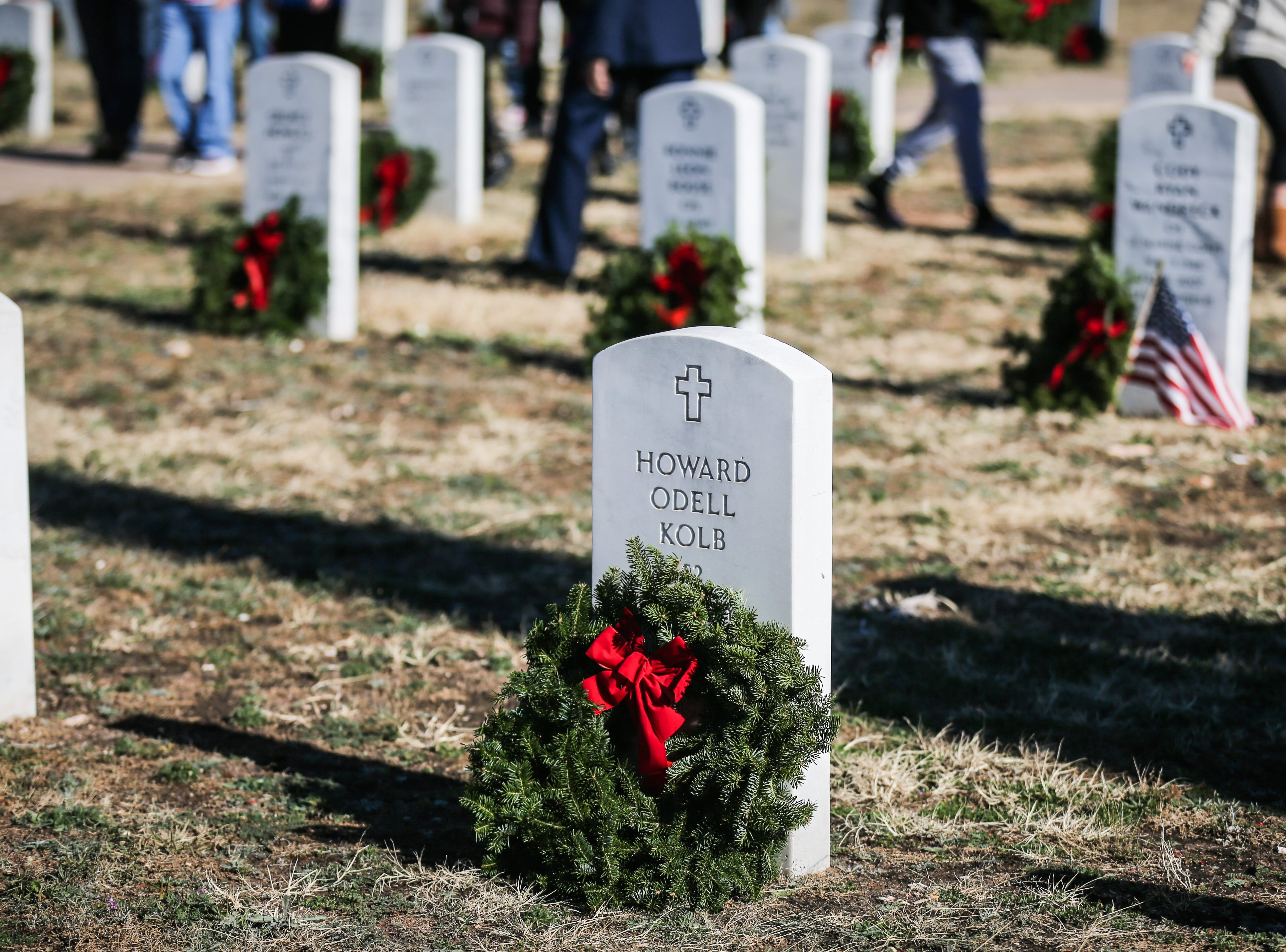 Participants placed wreaths on graves during Wreaths Across America Saturday, Dec. 15, 2018, at Belvedere Memorial Park.